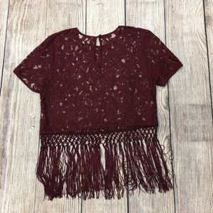Michael Kors maroon Lace top with fringe size med